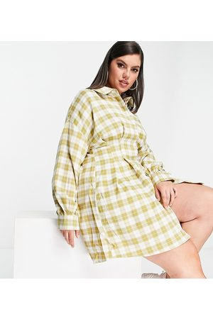 Missguided Shirt dress with pleated waist in check