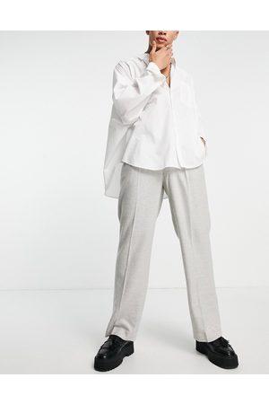 ASOS DESIGN High waist wide leg wool mix suit pants in twill