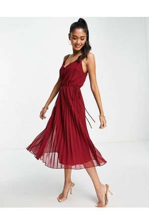 ASOS DESIGN Women Evening Dresses - Button front pleated cami midi dress with drawstring waist in -Red