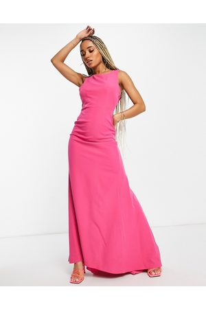 Goddiva Maxi dress with back detail in cerise-Pink