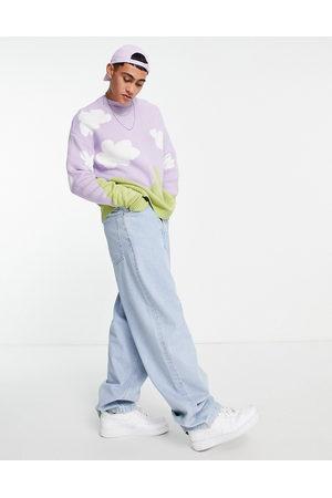 ASOS DESIGN Men Sweaters - Knitted oversized jumper with cloud landscape pattern-Purple