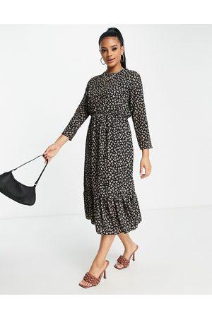 I Saw It First Leopard print frill hem smock midi dress in