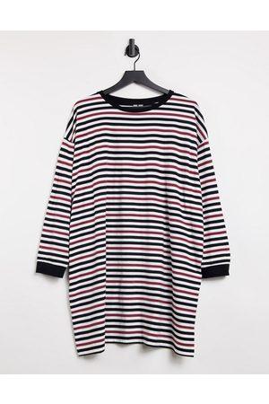 ASOS DESIGN Oversized long sleeve t-shirt dress in burgundy black and white stripe-Multi