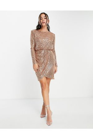 Forever New Wrap front sequin mini dress in soft gold-Brown