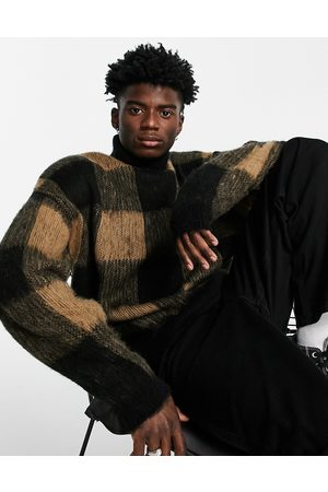 ASOS Men Sweaters - Fluffy knit check roll neck jumper in -Brown