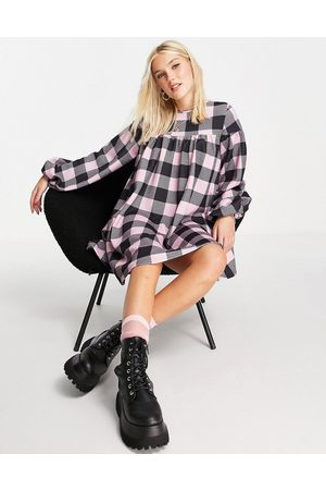 ASOS Oversized long sleeve smock dress with tie back in large print