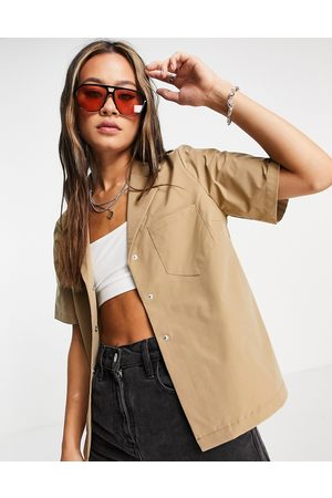 Object Frigg revere shirt co-ord in beige-Neutral
