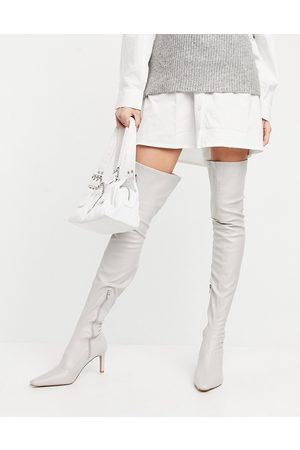 ASOS DESIGN Kaye stretch over-the-knee boots in off-white