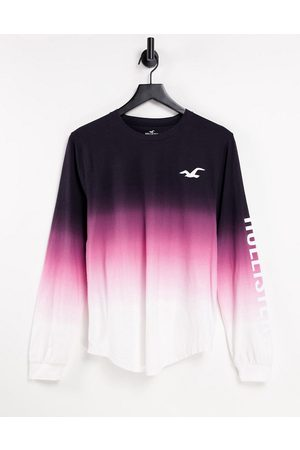 Hollister Icon logo ombre long sleeve top in black/pink/white