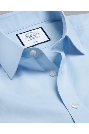 N O-Iro Tyrwhitt Cool Popli Short Sleeve Cotto Busiess Shirt - Sky Size 41/Short by Charles Tyrwhitt