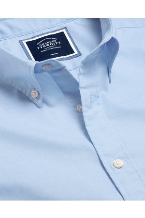 N Butto-Dow Collar o-Iro Stretch Popli Cotto Shirt - Sky Sigle Cuff Size Large by Charles Tyrwhitt