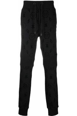 Philipp Plein Flocked monogram track trousers