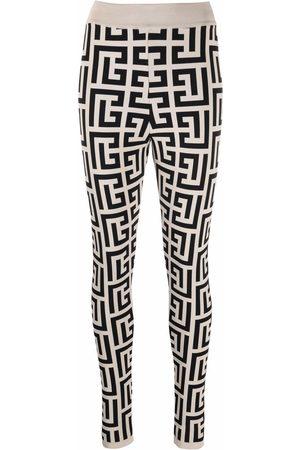 Balmain Women Leggings - Zipped Monogram leggings