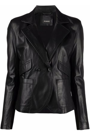 Pinko Women Leather Jackets - Double-breasted leather jacket