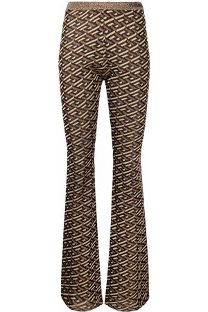VERSACE Women Joggers - Patterned intarsia-knit trousers