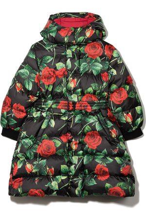 Dolce & Gabbana Kids Girls Coats - Rose-print puffer coat