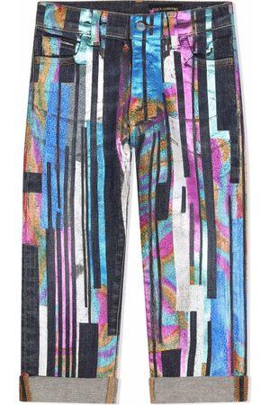Dolce & Gabbana Kids Painted straight leg jeans