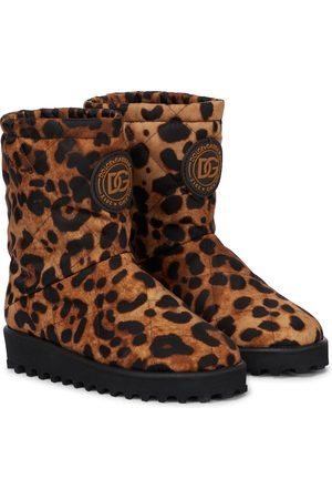 Dolce & Gabbana Kids Quilted leopard-print boots