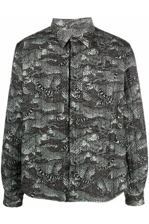 Kenzo Leopard-print quilted shirt jacket