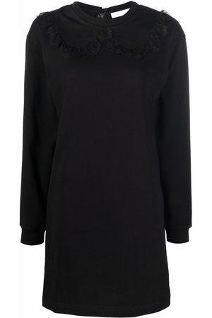 See by Chloé Lace-trim long-sleeve mini dress