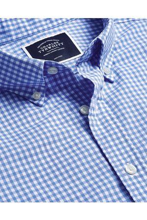 N Men Short sleeves - Butto-Dow Collar o-Iro Stretch Popli Gigham Short Sleeve Cotto Shirt - Sky Sigle Cuff Size Large by Charles Tyrwhitt