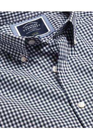N Men Short sleeves - Butto-Dow Collar o-Iro Stretch Popli Gigham Short Sleeve Cotto Shirt - avy Sigle Cuff Size Large by Charles Tyrwhitt