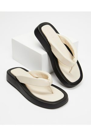AERE Padded Leather Strap Thongs - All thongs (Bone Leather) Padded Leather Strap Thongs