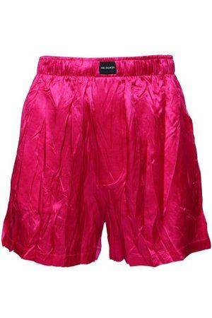 Balenciaga Women Shorts - Logo-patch Crinkled Satin Shorts - Womens