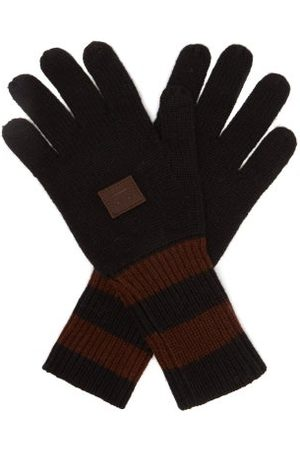 Acne Studios Kenny Face-patch Striped Wool-blend Gloves - Mens