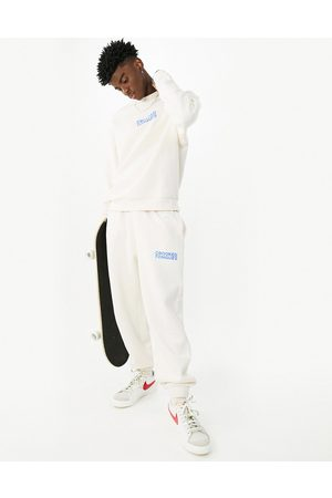 Crooked Tongues Men Joggers - Logo relaxed trackies in -White