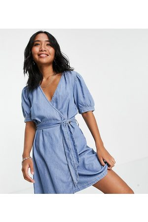ONLY Women Party Dresses - Chambray wrap mini dress in light blue