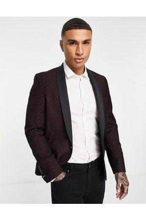 Twisted Tailor Blazer in burgundy with black geometric flocking