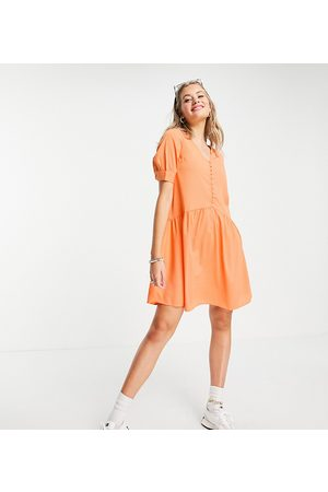 Pieces Button detail mini smock dress in