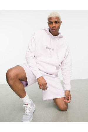 ASOS Co-ord oversized hoodie in washed lilac organic cotton with text print-Purple