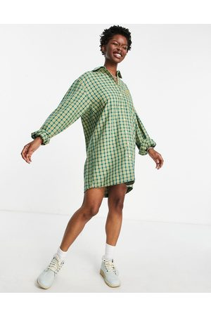 Kickers Women Casual Dresses - Oversized shirt dress with embroidered pocket logo in vintage check-Green