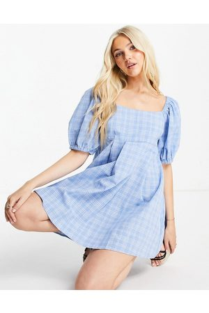 Skylar Rose Puff sleeve mini skater dress in gingham