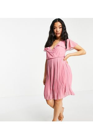VILA Recycled blend pleated mini dress with frill collar in pink