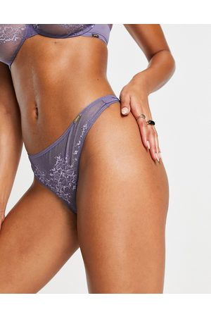 Gossard Glossies lace sheer lingerie thong in -Purple
