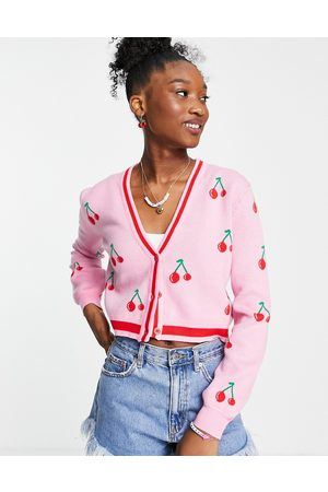 Liquorish V-neck knitted cardi with cherry embroidery in and red
