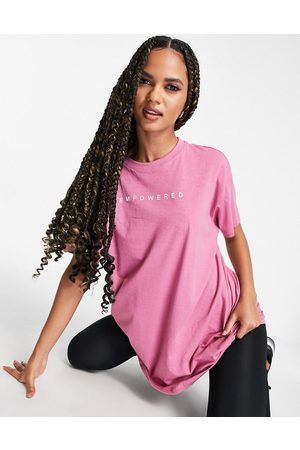 Hoxton Haus Oversized sports logo top in pink