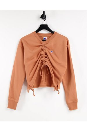 Russell Athletic Cropped crew neck sweatshirt-Copper