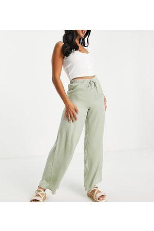 VILA Women Wide Leg Pants - Wide leg silky pants in sage