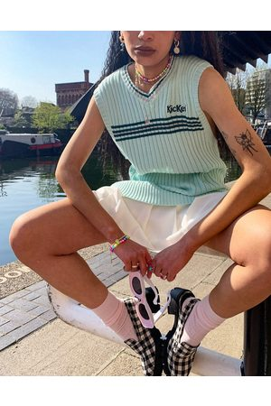 Kickers Women Sweaters - Oversized knitted sweater vest with vintage stripe-Green