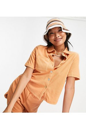 Pieces Organic cotton blend terry towelling polo top co-ord in -Neutral
