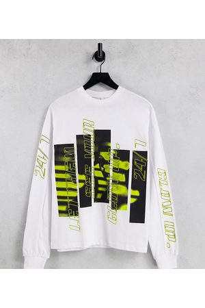 AsYou Women Long Sleeve - Long sleeve oversized t-shirt with spliced glow up print in