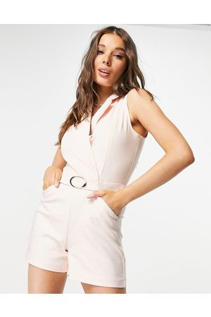 Morgan Women Playsuits - Wrap detail tux playsuit with belt detail in -White