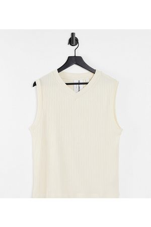 COLLUSION Tank Tops - Unisex sleeveless ribbed singlet co-ord-White