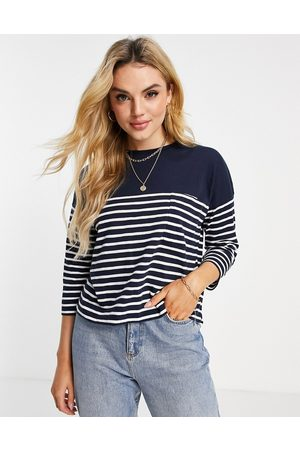 Whistles Women Tops - Boxy knitted t-shirt with pocket in blue and white -Multi