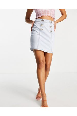 Morgan Women Mini Skirts - Denim mini skirt with gold button detail in light blue