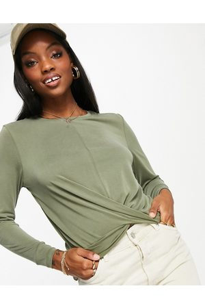 ONLY Women Blouses - Free Life long sleeve twist front jersey top in green